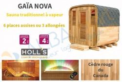 Sauna extérieur Gaïa NOVA en cèdre rouge avec terrasse (6 places)